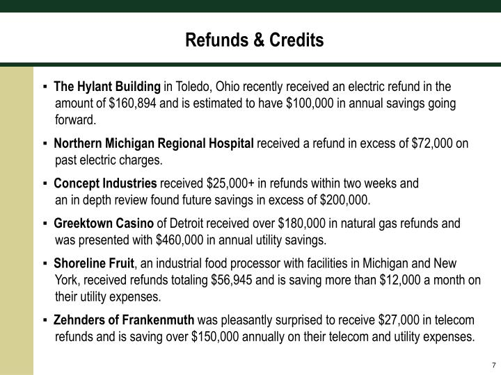 Refunds & Credits