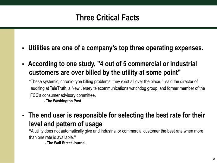 Three Critical Facts