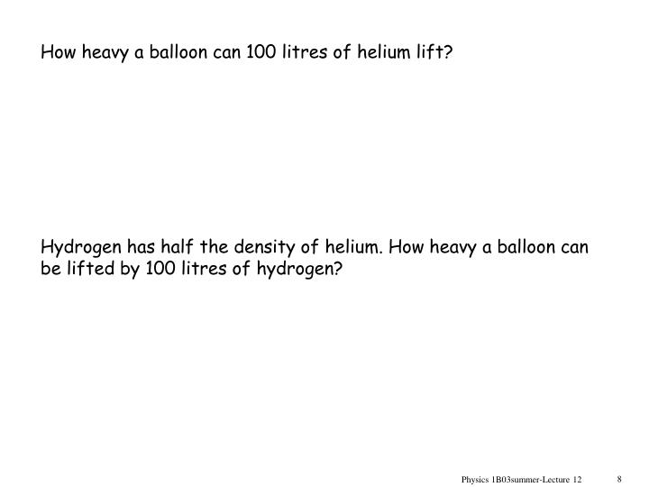 How heavy a balloon can 100 litres of helium lift?