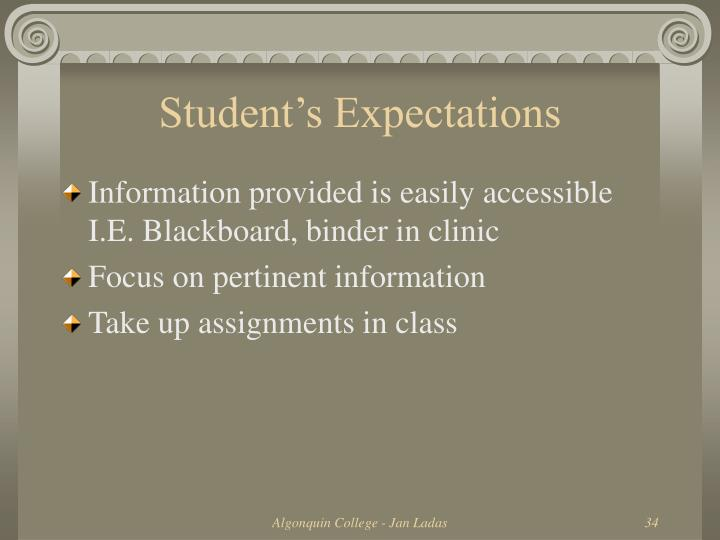Student's Expectations