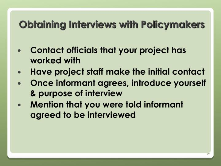 Obtaining Interviews with Policymakers
