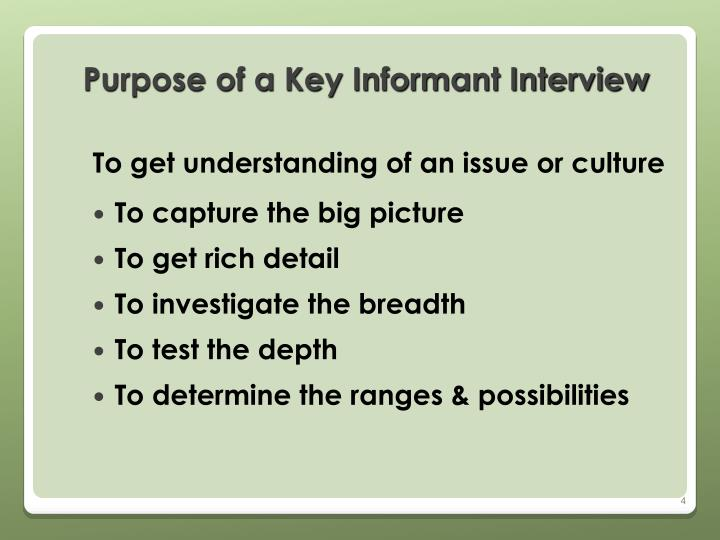 Purpose of a Key Informant Interview