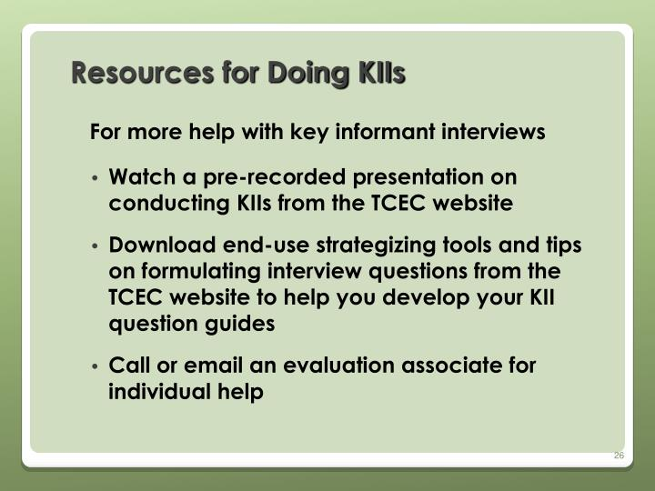 Resources for Doing KIIs