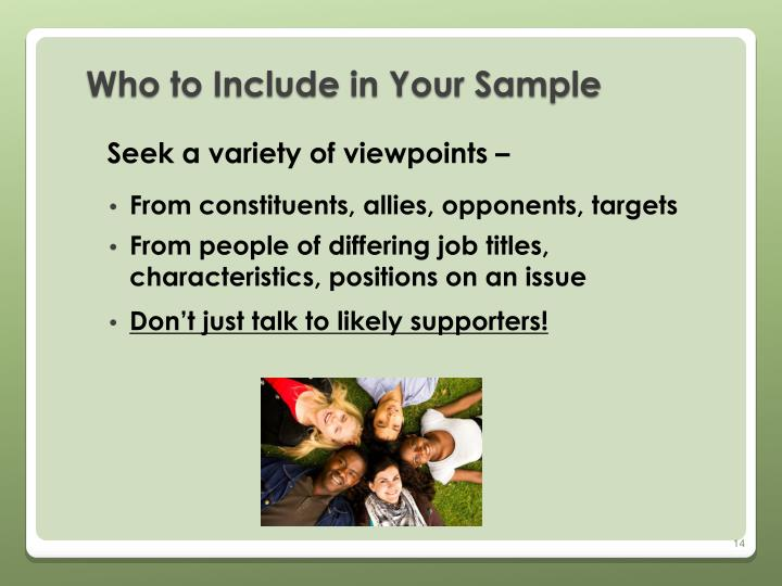 Who to Include in Your Sample