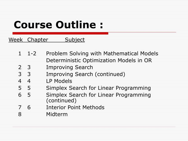 Course Outline :