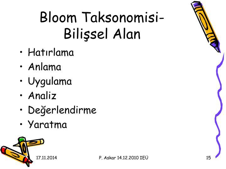 Bloom Taksonomisi-Bilişsel Alan