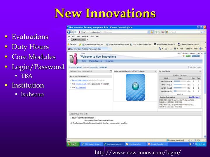 New Innovations