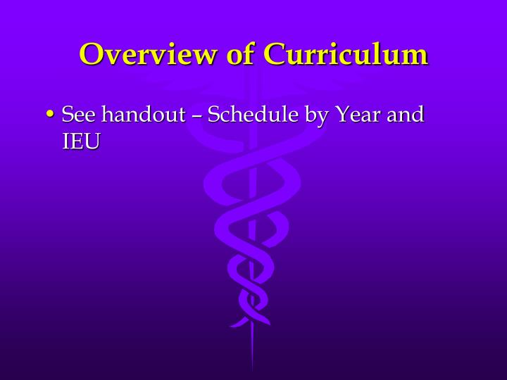 Overview of Curriculum