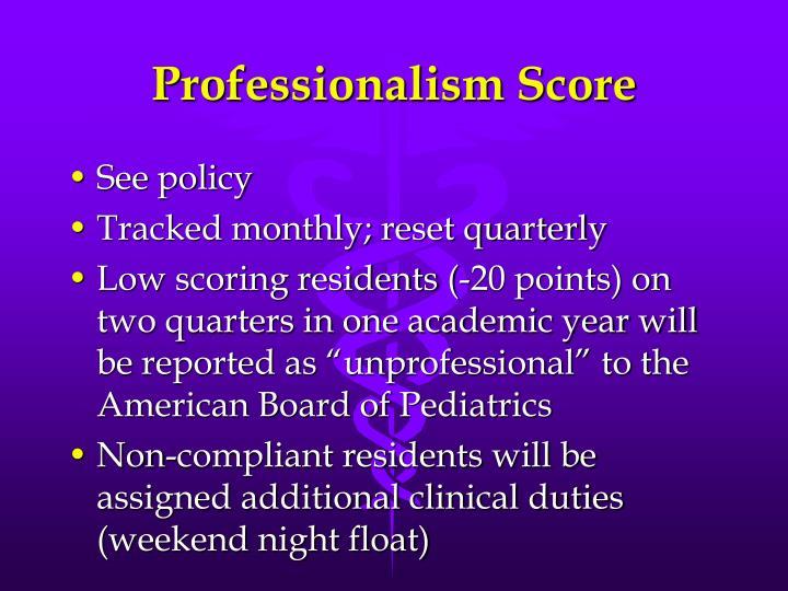 Professionalism Score