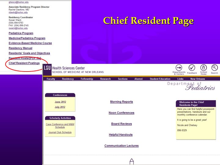 Chief Resident Page