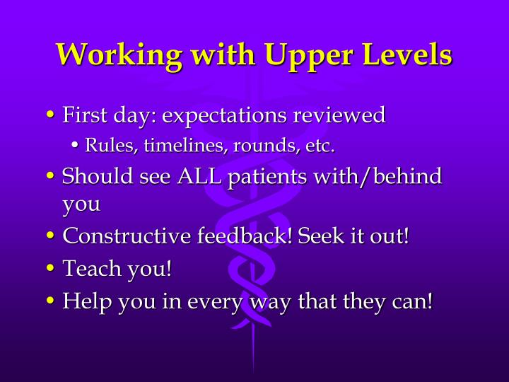 Working with Upper Levels