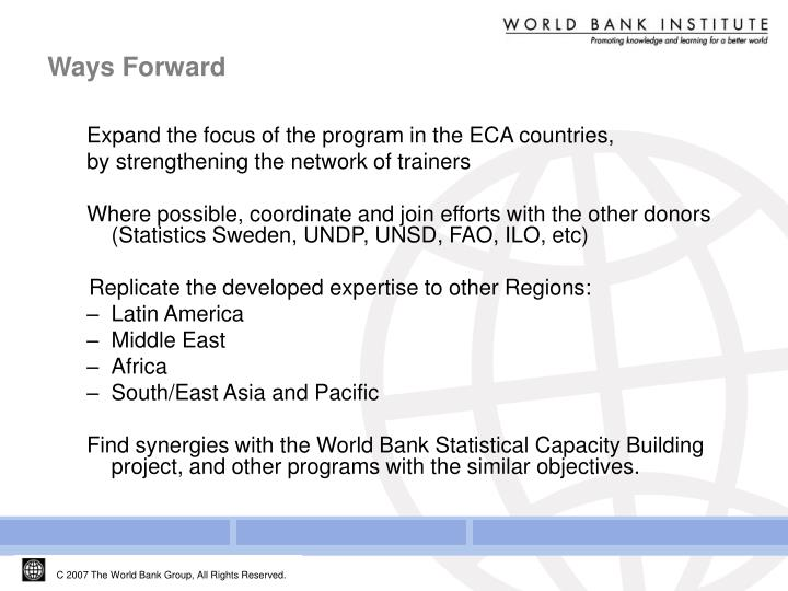 Expand the focus of the program in the ECA countries,