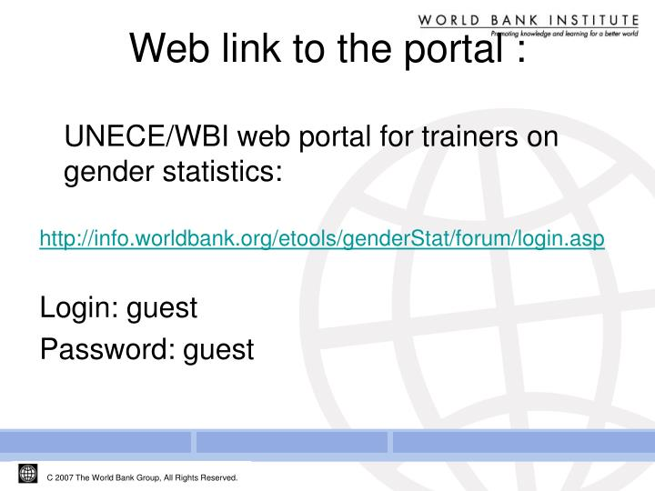 UNECE/WBI web portal for trainers on gender statistics: