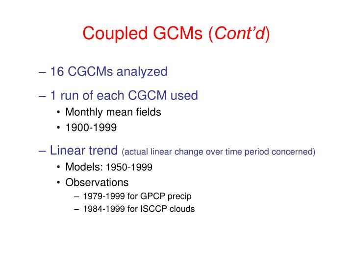Coupled GCMs (