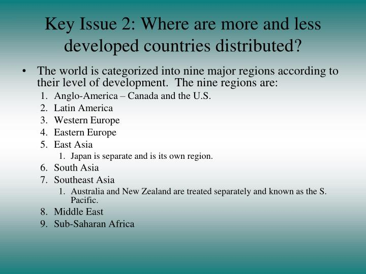 Key Issue 2: Where are more and less developed countries distributed?