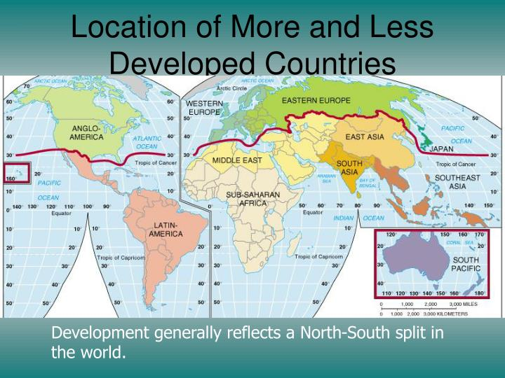 Location of More and Less Developed Countries