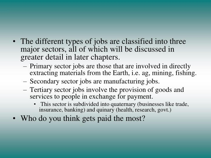 The different types of jobs are classified into three major sectors, all of which will be discussed in greater detail in later chapters.