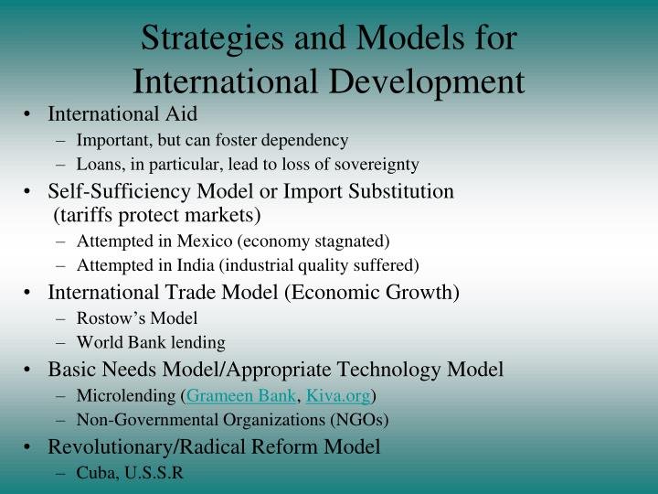 Strategies and Models for International Development