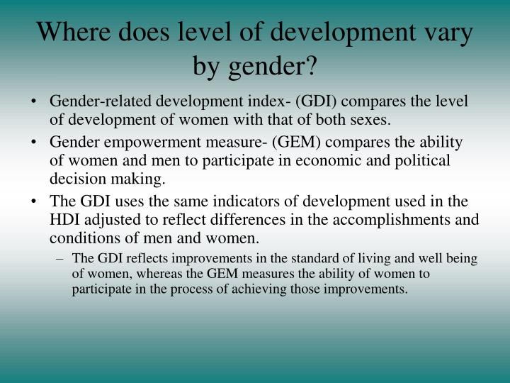 Where does level of development vary by gender?