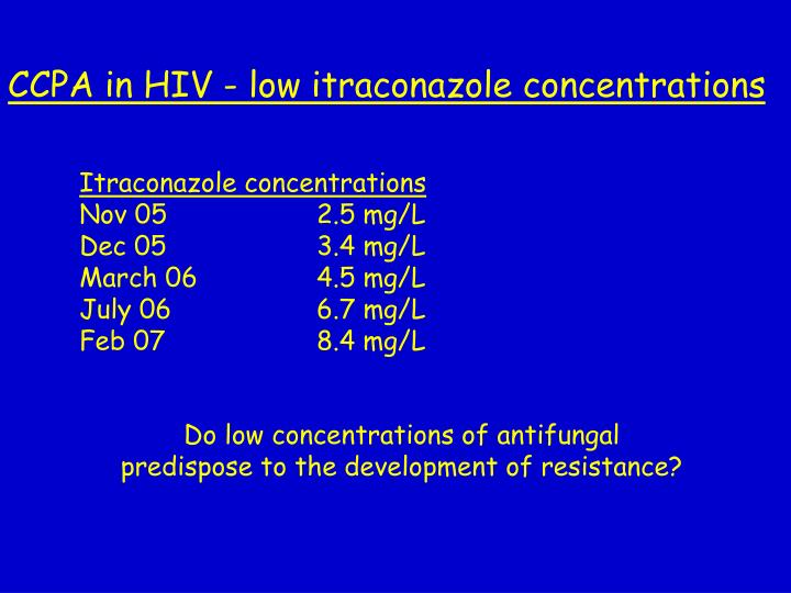 Itraconazole concentrations