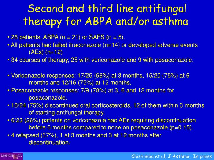 Second and third line antifungal therapy for ABPA and/or asthma