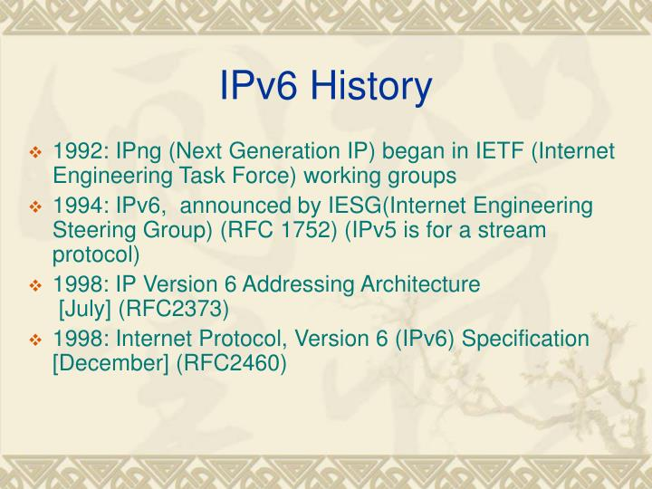 IPv6 History