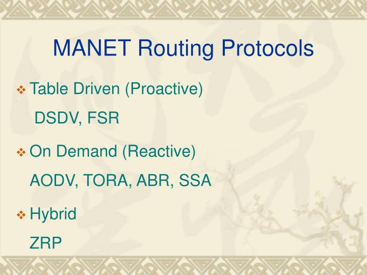 MANET Routing Protocols