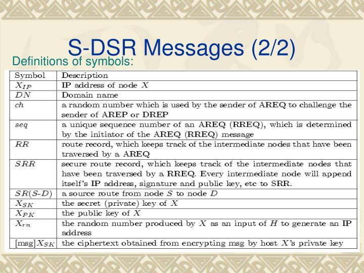 S-DSR Messages (2/2)