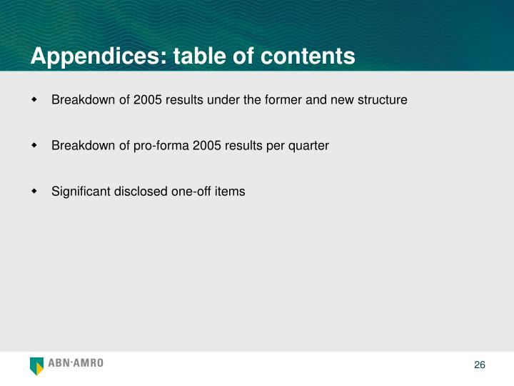 Appendices: table of contents