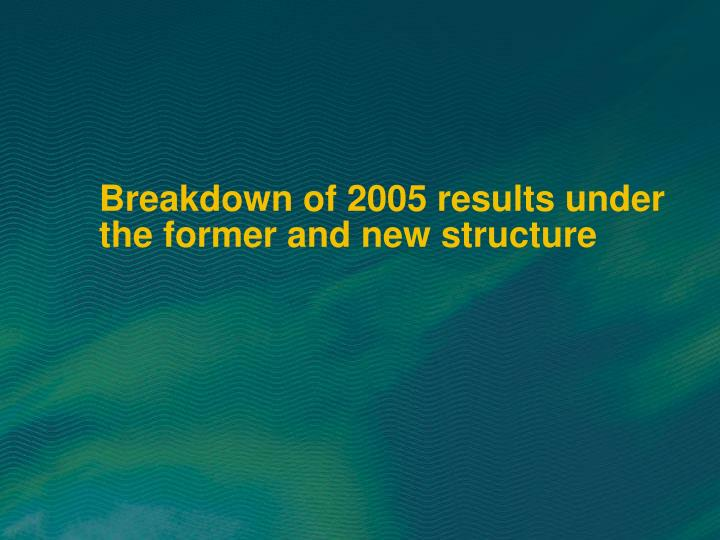 Breakdown of 2005 results under the former and new structure