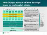 new group structure reflects strategic focus on mid market clients