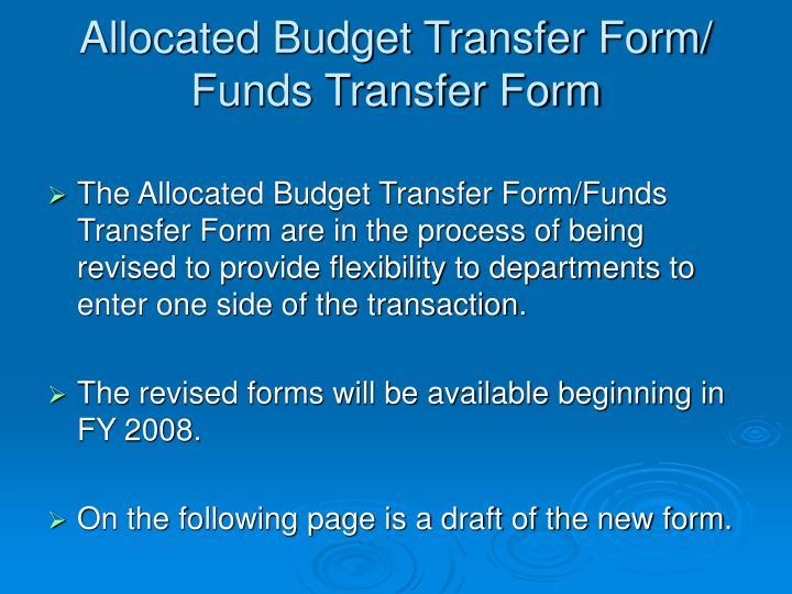Allocated Budget Transfer Form/