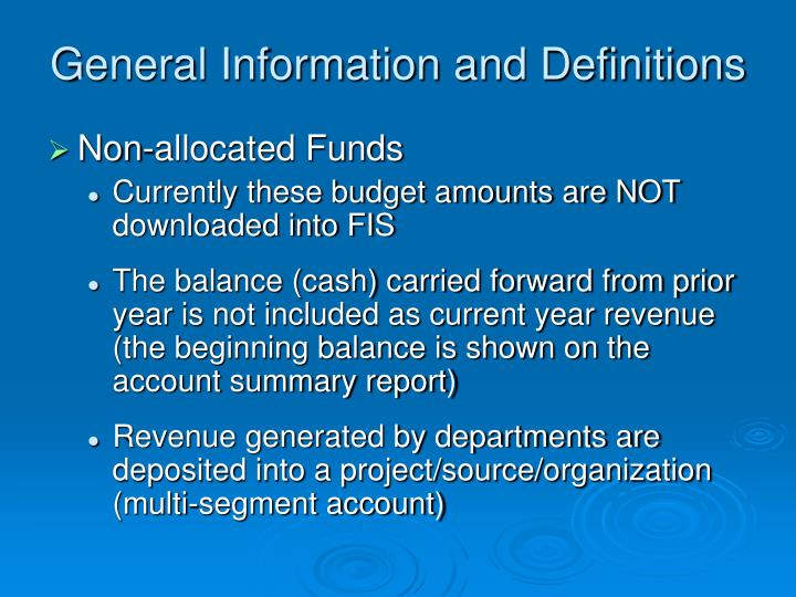 General Information and Definitions