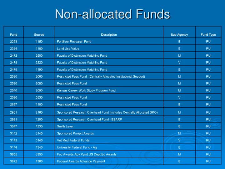 Non-allocated Funds