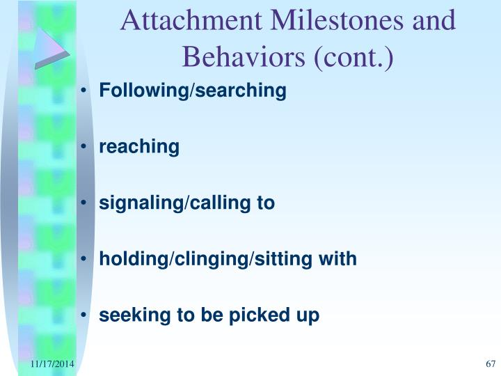 Attachment Milestones and Behaviors (cont.)