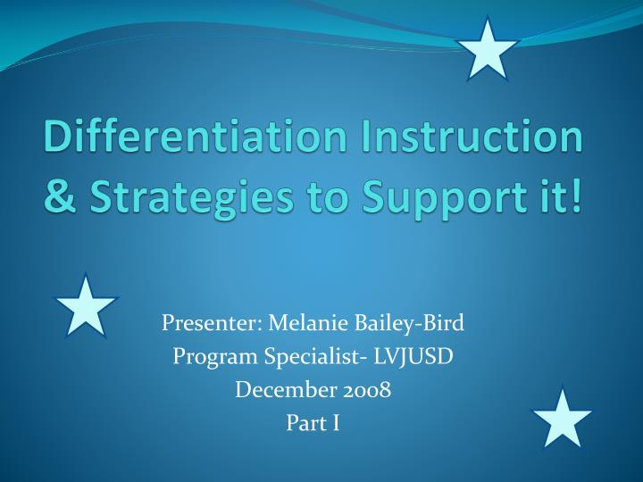 differentiation instruction strategies to support it