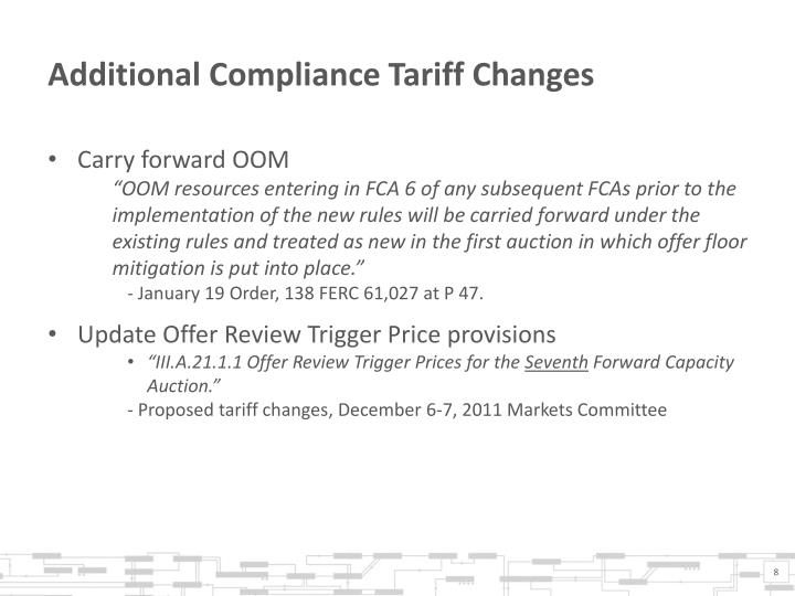 Additional Compliance Tariff Changes