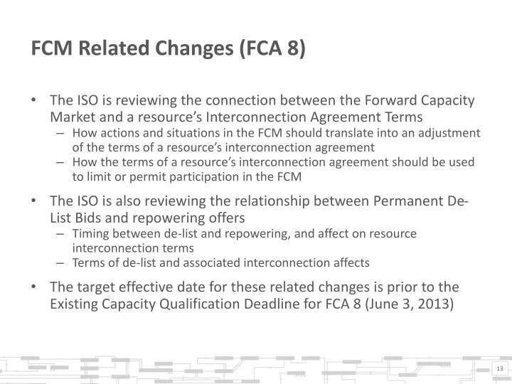 FCM Related Changes (FCA 8)