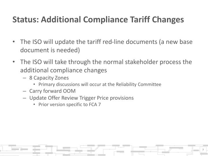 Status: Additional Compliance Tariff Changes