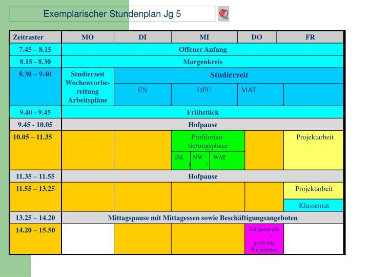 Exemplarischer Stundenplan Jg 5