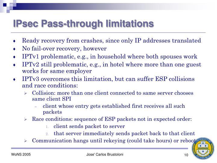 IPsec Pass-through limitations
