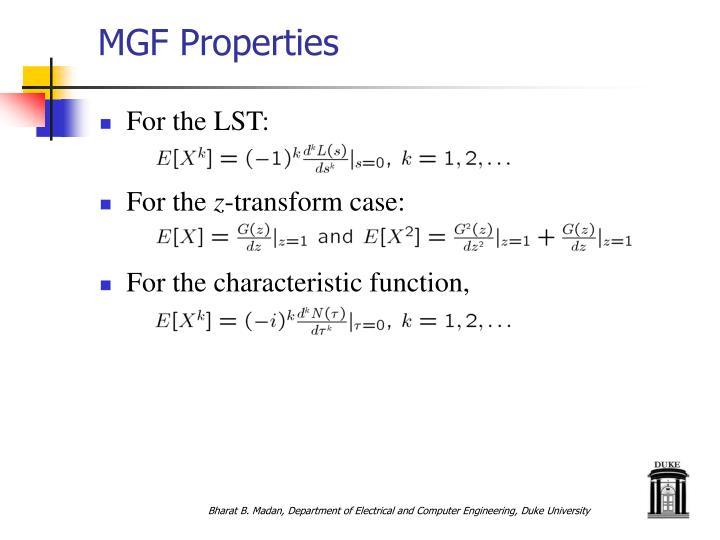 MGF Properties