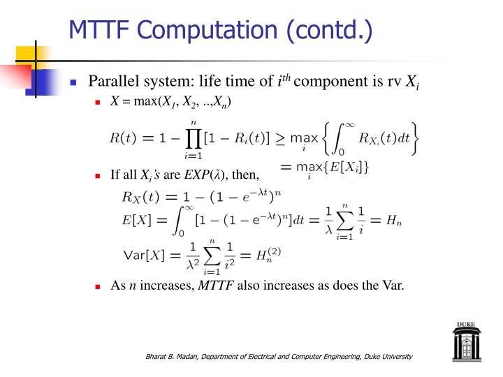 MTTF Computation (contd.)