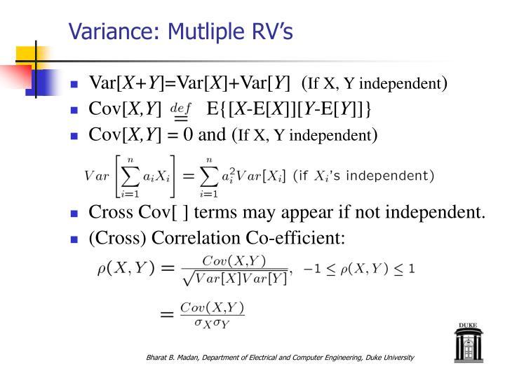 Variance: Mutliple RV's