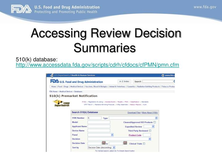 Accessing Review Decision Summaries
