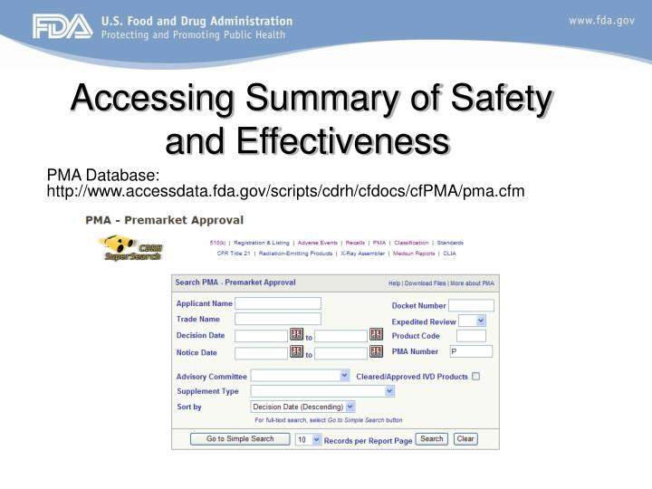 Accessing Summary of Safety and Effectiveness