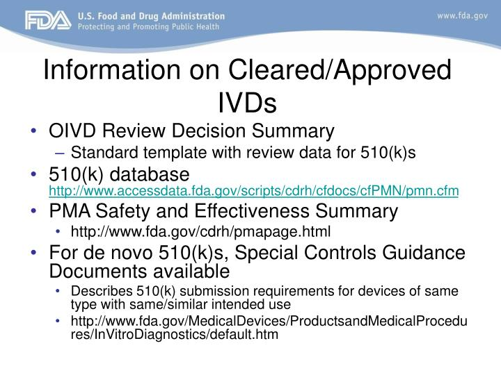 Information on Cleared/Approved IVDs