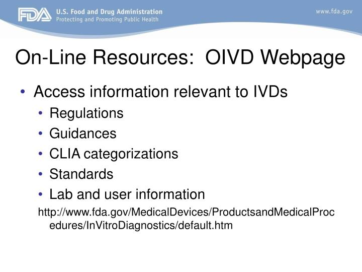 On-Line Resources:  OIVD Webpage