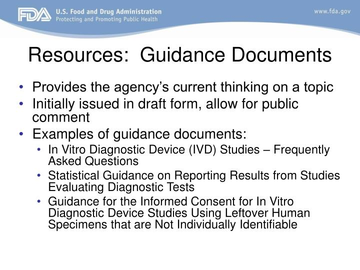 Resources:  Guidance Documents