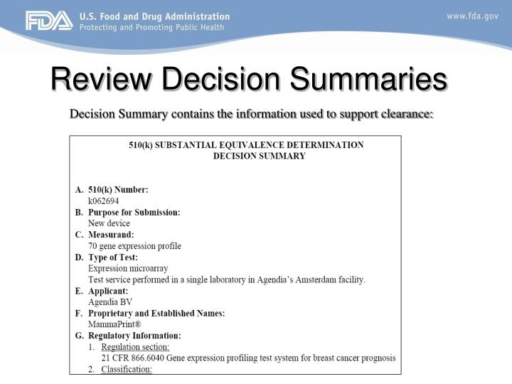 Review Decision Summaries